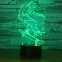 monopatín usb al por mayor-Skateboard ilusión 3D lámpara de luz quinta batería Bin USB alimentado 7 RGB luz DC 5V venta al por mayor envío gratuito