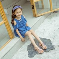 düz güzel ayakkabı toptan satış-Güzel Sandalet Kızlar Flats Yaz Pembe ayakkabı