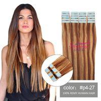 peruanischen bandhaar großhandel-Balayage Tape in Echthaarverlängerungen Remy Peruanisches Haar P4 / 27 Chocolate Brown Strawberry Blonde Ombre Tape auf Extensions