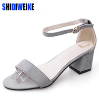 Wholesale casual sandles - SHIDIWEIKE Ltarta Summer Women Sandals Open Toe Flip Flops Women's Sandles Thick Heel Women Shoes Korean Style Gladiator Shoes
