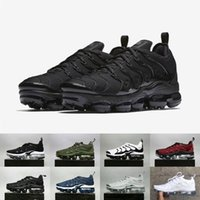 Wholesale male toe - 2018 NEW Vapormax TN Plus Olive In Metallic White Silver Colorways Shoes Men Shoes For Running Male Shoe Pack Triple Black Mens Shoes