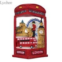 nevera ecológica al por mayor-Lychee 3D Red Resin Travel London Imán de Nevera de dibujos animados Refrigerador Decoración DIY Refrigerador Magnético Pegatina Cocina Decoración