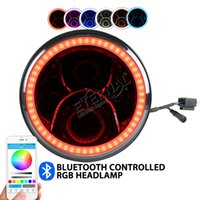 Wholesale Halo Headlamps - free shipping 50W RGB 7inch led headlight offroad headlamp remote halo colors for Wrangler Rubicon 4x4 truck trailer motorcycle H4 H13 lamp