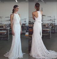 Wholesale elegant halter lace wedding dress online - Vintage Lihi Hod Mermaid Wedding Dresses with Halter Neck Sweep Train Fully Classy Elegant Lace Trumpet Beach Bridal Gowns
