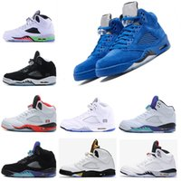 Wholesale reflect free - AAA Quality Red Suede shoes 5 fashion Mens Basketball Shoes Blue Suede University Red Raging Bull 3M Reflect Sports Sneakers free run