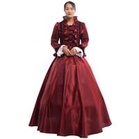 vintage victorian kostüme frauen großhandel-Frauen Vintage Gothic Viktorianischen Kleid Langarm Blau Bodenlangen Gericht Ballkleid Mit Krinoline Karneval Party Kostüm