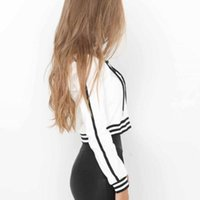 женская толстовка оптовых-NEW Ladies Womens Girls Striped Hoodie Crop Top Sweatshirt Hooded Lace Up Coat Tops