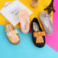 Wholesale girls tongs resale online - Miini Melissa girl Baotou Tong sandals Baby cartoon boy Sandals jelly shoes hole shoes DHL