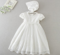 Wholesale long sleeve baptism dress baby - Newborn baby Baptism long Dress with hats 2018 Christening Gown Girls' short sleeve party Infant Princess wedding dresses baby clothing