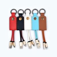 cable de cuerda al por mayor-rápido cargador cable de datos 2018 la venta CALIENTE del cuero cuerda de seguridad llavero de metal 2A USB para el teléfono Samsung S7 S8 androide de envío libre de DHL
