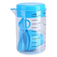 ingrosso cucchiaio da forno-7 pezzi / set di strumenti di misurazione della tazza di misurazione di plastica blu strumenti cucchiai per cucina cottura cucchiai di caffè laureato