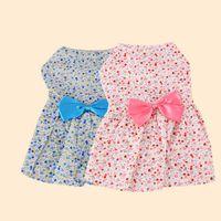 ingrosso vendite di abbigliamento-New Summer Apparel Pet minigonna Lovely Floral Bow Dog Princess Dress Moda Puppy Clothes Vendita calda 7 3yh Ww