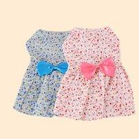 miniskirt dress toptan satış-Yeni Yaz Giyim Pet Miniskirt Güzel Çiçek Yay Köpek Prenses Elbise Moda Köpek Giysileri Sıcak Satış 7 3yh Ww