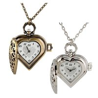 Wholesale Necklace Chain Pocket Watch Heart - Shellhard Luxury Hollowed Heart-Shaped Pocket Watch Necklace Pendant Chain Watches Clock Women Gift Reloj Mujer