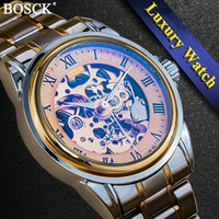 reloj hueco sin cuerda al por mayor-BOSCK Diseño 3D Hollow Self-Winding Relojes Mecánicos Engrave Skeleton Mens relojes mecánicos automáticos Relojes Mecanicos S917