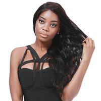 12 inç dantel ön peruk toptan satış-Vücut Dalga İnsan Saç Dantel Ön Peruk Bebek Saç Ile Ön Koparıp Brezilyalı Bakire Saç Peruk Siyah Kadınlar Için Doğal Renk 12-24 Inç