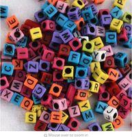 perlas de color de fluorescencia al por mayor-200 unids / lote Mixto Agujero Grande 3mm Fluorescencia Color Del Caramelo Alfabeto Letra Cubo Beads Loom Bandas Grano F597