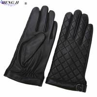 ingrosso guanti di sera lunghezza gomito nero-HENG JI Guanti da uomo in pelle ricamata, guanti invernali caldi a prova di freddo, guanti in pelle di montone touch screen, alta qualità, spedizione gratuita