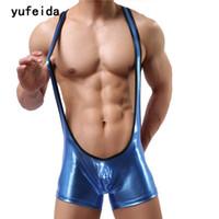 f400a995cb YUFEIDA Sexy Bodysuit Men Corset For Men Erotic Underwear Gay Leotard PU Jumpsuit  Wrestling Singlet Brace Underpants Costume