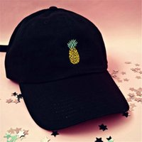 Wholesale pineapple patterns - Dome Hip Hop Snapback Hats For Summer Sun Shading Adjustable Casquette Pineapple Pattern Baseball Cap Novelty Gift High Quality 4 5dl BW