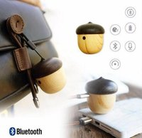 Wholesale Wooden Buttons Wholesale - Mini wooden bluetooth portable nut speaker mini travel built-in microphone speaker for iPhone and Android wooden nut stereo retail factory w