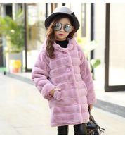 Wholesale Kids Fur Coat Girls Gray - Girl's Winter faux Fur Coat New Girls Thick Fluff Warm Coats Children Baby Clothes Kid Thicken Plus Velvet Coat girls hooded outwear A00151