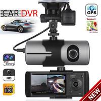 levas de tablero de doble cámara al por mayor-Lente doble cámara GPS HD coche DVR Dash Cam Grabador de video G-Sensor de visión nocturna Envío gratis