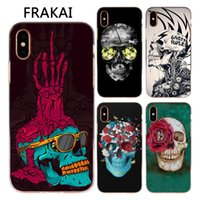 Wholesale Luxury Iphone 5c Cases - For Apple iphone X 8 7 6S Plus 5C 5S SE Case Luxury Design Color Rose Flowers Skull Painted Soft Silicone TPU Cover