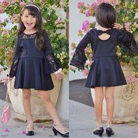 elbiseler alevlendirilmiş etekler toptan satış-2018 Yaz Çocuklar Bebek Kız Backless Ilmek Prenses Elbise Sevimli Kız Dantel Flare Kol Yumuşak Pamuk Elbise Fantezi Etek