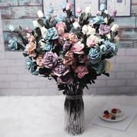 dekorasyon için büyük yapay çiçekler toptan satış-Ev Düğün Dekorasyon kapalı için Renkli PE Gül Yapay Çiçek Şubesi 3 Big Head ve 2 Bud Ucuz Sahte Çiçekler