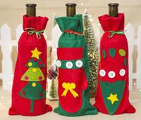 bez şişe kapakları toptan satış-Noel Keçe Bez Kırmızı Şarap Giyinmek Yemek Şampanya Şişesi Kapağı Noel Şarap Şişesi Depolama Kılıfı Xmas Dekorasyon