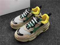 Wholesale Synthetic Wash Leather - Triple S WASHED SHOW SNEA BEIGE RESILLE DOUB RESILLE ALV NUBUC JAU BEI GRIS Outdoor Running Shoes Yellow Green Sneakers