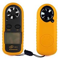 anemómetro de mano al por mayor-Anemómetro digital 1.4 pulgadas Bolsillo de mano Aire Viento Velocidad Medidor de velocidad Medidor de temperatura Instrumento en caja al por menor