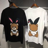 Wholesale Super Cute Rabbit - Europe Italy Rabit Bear T-shirt Fashionable Men Women Super cute bear rabbit front and back printing rabbit T-shirt