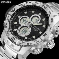 reloj de la marca boamigo al por mayor-BOAMIGO marca hombres relojes deportivos de acero reloj digital LED de cuarzo analógico reloj cronógrafo automático fecha 30 M reloj a prueba de agua S-SHOCK