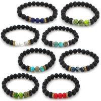 Wholesale essential oil diffuser bracelets resale online - Natural Stone Lava Rock Bracelets mm Yoga Beads Diffuser Bracelet Charms Essential Oil Bracelet Jewelry For Men Women Christmas Gift B362SF