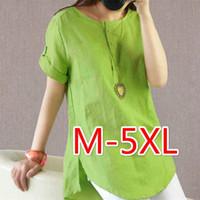 Wholesale flax linen dress l - Goldtop Summer Women T-shirt Soft Cotton Linen T-shirt Turn Down Short Sleeve Simple Tops Career Flax Tops Plus Size