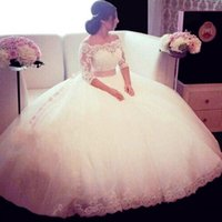 Wholesale ball skirt two piece for sale - 2018 New Arrival Sexy Two Pieces Ball Gown Wedding Dresses Sleeves Lace Applique Off Shoulder Wedding Gowns Backless Bridal Dress