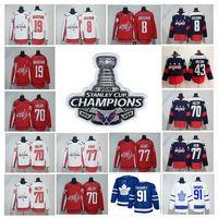 Wholesale polyester wrinkles - 2018 Stanley Cup Champions jersey 8 Alex Ovechkin 91 John Tavares 43 Tom Wilson 77 T.J. Oshie 70 Braden Holtby 92 Kuznet Hockey Jerseys