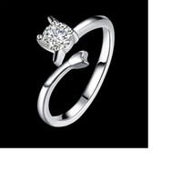 925 sterling silber gestempelt schmuck großhandel-LJOMR Fashion Damen Schmuck 925 Sterling Silber Schütze Ring mit Zirkon Versilbert Ringe