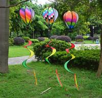 rüzgar balonu toptan satış-Gökkuşağı Sıcak Hava Balon Sequins Renk Stripes Bahçe Okul Dekor Yaratıcı Balonlar Rüzgar Spinner Ile Renkli Şerit 8 5bj jj