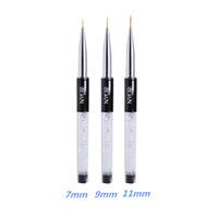 художественная роспись оптовых-New 7/9/11mm Nail Brush BQAN Crystal Acrylic Nail Art Brushes UV Gel Painting Line Brush Nylon Pen Manicure Liner Tool