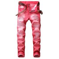 Wholesale 29 jeans for men - Fashion Casual Hole Jeans for Men Hip Hop Biker Jeans Regular Straigh Jeans Red Plus Size 29-42