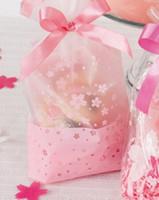 favores de cereza al por mayor-100 Unids Pink Cherry Cookie Bag Plástico Semi Claro Celofán Plano Abierto Para Panadería Regalo Favores de Banquete de Boda Embalaje 16x26 cm