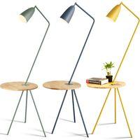 lâmpadas de chão de madeira venda por atacado-Nordic sala piso estudo de cabeceira quarto lâmpada de cor simples mesa de café Macarons do hotel lâmpadas de assoalho de madeira