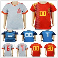 camiseta de fútbol juvenil de españa al por mayor-KIDS España camisetas de fútbol Copa Mundial de Fútbol 2018 camiseta juvenil uniforme de portero camisetas MORATA ASENSIO ISCO DE GEA RAMOS