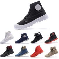 zapatillas altas para hombre. al por mayor-2018 Nuevo PALLADIUM Pallabrouse Men High Army Military Ankle para hombre mujer botas de lona zapatillas de deporte de hombre zapatos antideslizantes del diseñador 36-45