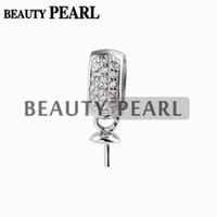 Wholesale sterling silver small pendants - 10 Pieces Round Pearl Mounting Pendant DIY Silver Findings Small Charm Zircons 925 Sterling Silver Jewelry Making