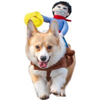 ingrosso costumi da cowboy-Costume da Cowboy Rider Dog per cani stile cavaliere con bambola e cappello per costume da giorno di Halloween