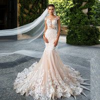 Wholesale trumpet mermaid wedding dress real images for sale - Group buy Real Pictures Milla Nova Mermaid applique lace wedding dress Cap Sleeve Champagne customized Illusion Bodice bridal gowns robe de soiree
